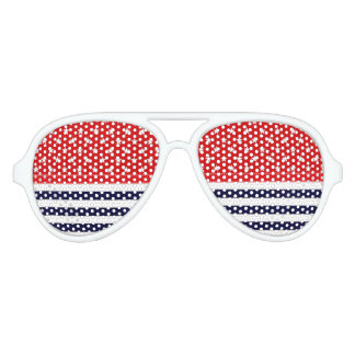 Red White and Blue with White Stars & Stripes Aviator Sunglasses