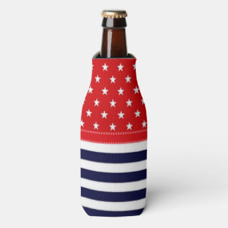 Red White and Blue with White Stars & Stripes Bottle Cooler