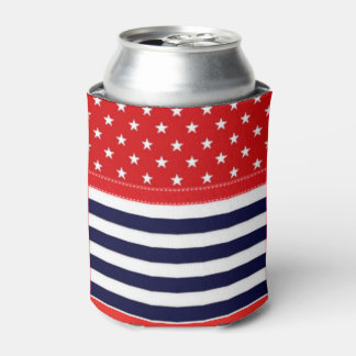 Red White and Blue with White Stars & Stripes Can Cooler