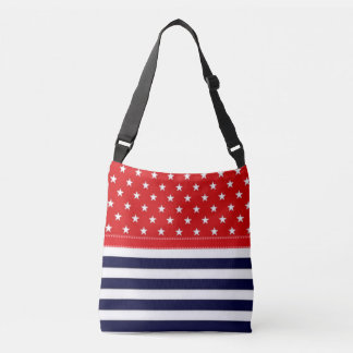 Red White and Blue with White Stars & Stripes Crossbody Bag