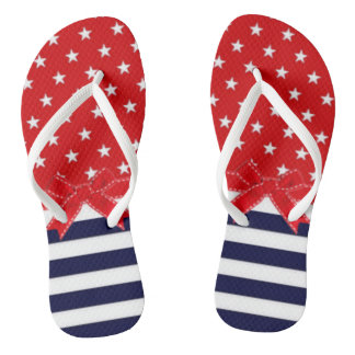 Red White and Blue with White Stars & Stripes Flip Flops