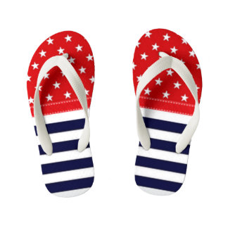 Red White and Blue with White Stars & Stripes Kid's Flip Flops
