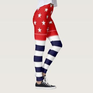 Red White and Blue with White Stars & Stripes Leggings