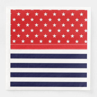 Red White and Blue with White Stars & Stripes Paper Dinner Napkin