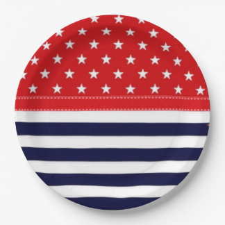 Red White and Blue with White Stars & Stripes Paper Plate