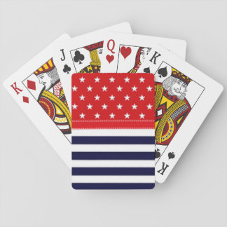 Red White and Blue with White Stars & Stripes Playing Cards