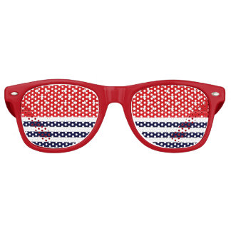 Red White and Blue with White Stars & Stripes Retro Sunglasses