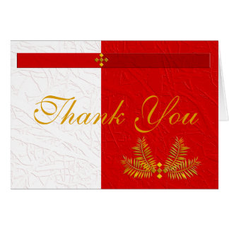 Red White and Gold Thank You with Palm Leaves Greeting Card