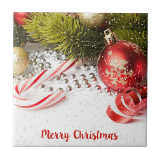 Red White And Green Christmas Decor Tile