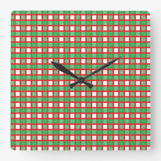 Red, White and Green Static Weave Square Wall Clock