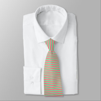 Red, White and Green Strips Tie