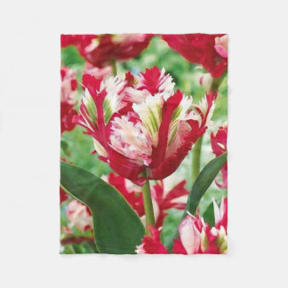 Red White and Green Tulip Fleece Blanket