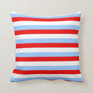 Red White and Light Blue Stripe Throw Pillow