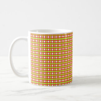 Red, White and Static Lime Green Weave Coffee Mug