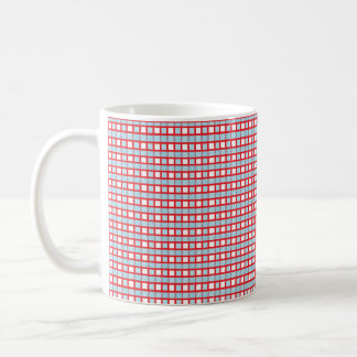Red, White and Static Pastel Blue Weave Coffee Mug