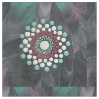 Red White and Turquoise Dot Mandala Fabric