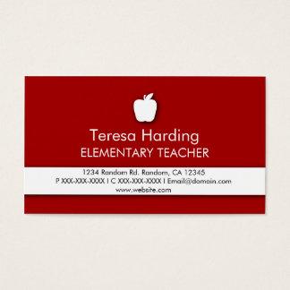 Red white apple symbol teacher business cards