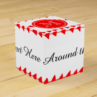 Red White Aztec Arrows Monogram Favor Boxes