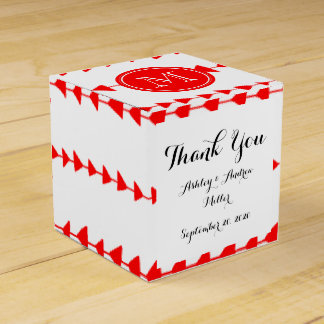 Red White Aztec Arrows Monogram Wedding Favor Boxes