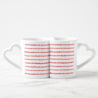 Red White Aztec Arrows Pattern Coffee Mug Set