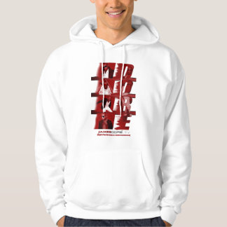 RED White backdrop w lines Hoodie 1