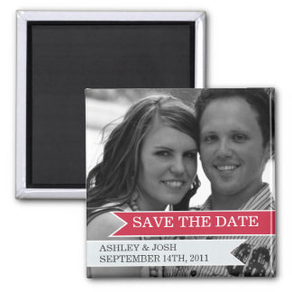 Red & White Banner Photo Save The Date Magnet