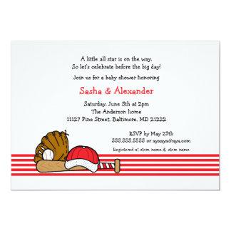 "Red White Baseball baby shower birthday party 5"" X 7"" Invitation Card"