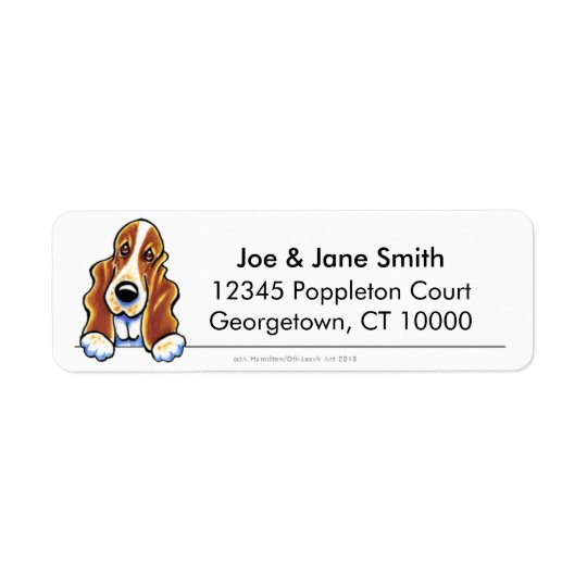 Red White Basset Hound Clean & Simple Return Address Label