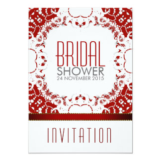 Red White Batik Bridal Shower Party Invitation