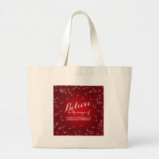 Red White Believe in magic of Christmas Typography Large Tote Bag