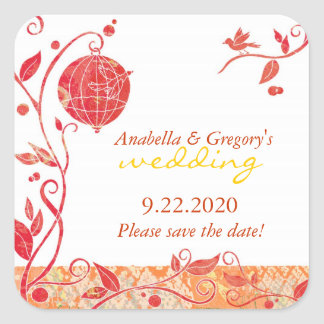 Red White Bird Cage Save the Date Wedding Square Sticker