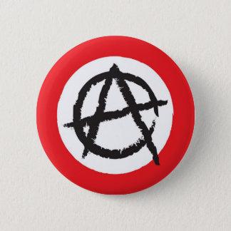 Red, White & Black Anarchy Flag Sign Symbol 2 Inch Round Button