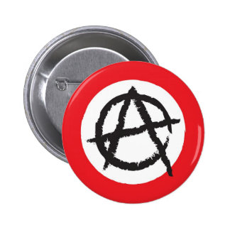 Red, White & Black Anarchy Flag Sign Symbol 2 Inch Round Button