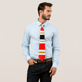Red White Black and Gold Stripe Tie