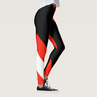Red White & Black Color Block 4Anissa Leggings