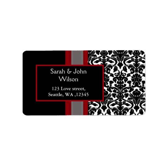 Red White Black Damask Wedding Invitations