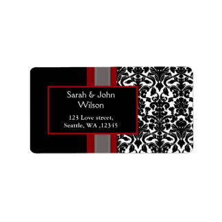 Red White Black Damask Wedding Invitations Label