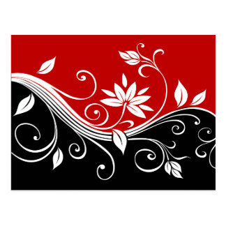 Red  White & Black Floral Postcard