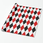 Red White Black Harlequin Diamond Pattern Wrapping Paper