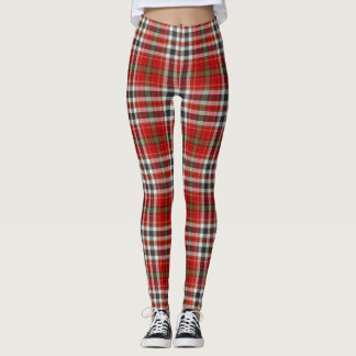 Red White Black & Olive Green Large Tartan Plaid Leggings