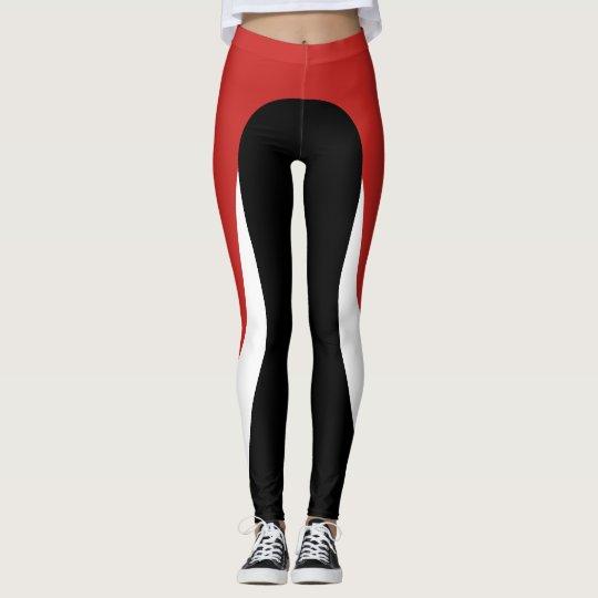 Red/White/Black Pattern Leggings