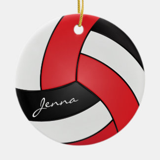 Red, White & Black Personalize Volleyball Ceramic Ornament