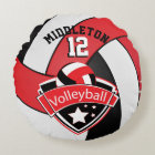 Red, White & Black Personalize Volleyball Round Pillow