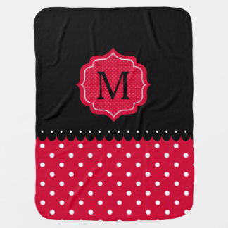 Red White Black Polka Dot Custom Monogram Design Baby Blanket