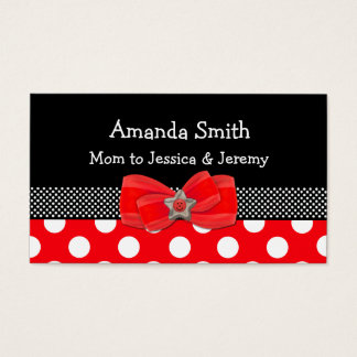 Red, White, & Black Polka Dot Mommy Card