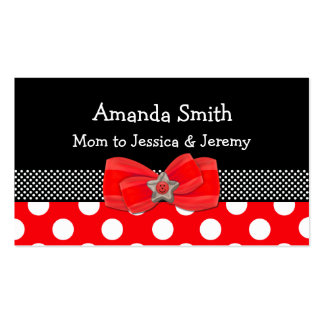 Red, White, & Black Polka Dot Mommy Card Pack Of Standard Business Cards