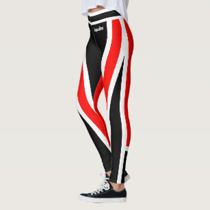 Red White Black Squad Leggings