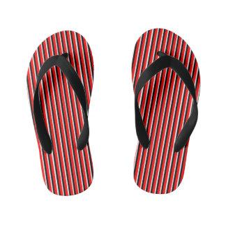 Red White Black Stripes Sandals Kid's Flip Flops