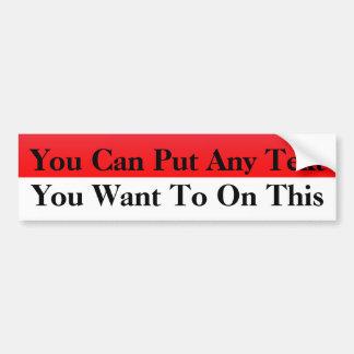 Red & White Blank Bumper Sticker