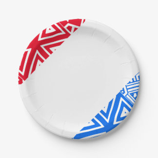 Red White & Blue Abstract Patriotic 7 Inch Paper Plate